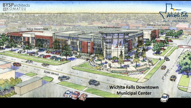 A rendering of the city's proposed Municipal Complex. The project is one of seven propositions for a May bond election.
