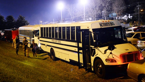 Buses for Pisgah athletes and band members in the parking lot following the football game at Franklin November 17, 2017. The game featured two local teams only 50 miles apart.