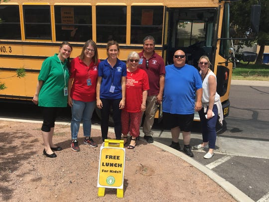 From left, nutritional trainer Jessica Braboy; executive administrative assistant Andrea Heaton; nutritional services supervisor Emma Kitzman; Superintendent Christine Busch;  nutrition assistant Gilbert Urias; bus driver David Engstad; and executive coordinator for the superintendent Brittany Franklin.