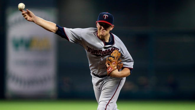 Tyler Duffey, shown here pitching for the Twins in his hometown of Houston, threw seven strong innings for the Red Wings on in a 3-1, 10-inning loss to Pawtucket on April 18, 2016.