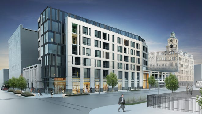 An apartment building is being proposed for the northwest corner of N. Broadway and E. Clyboutn St., in downtown Milwaukee.