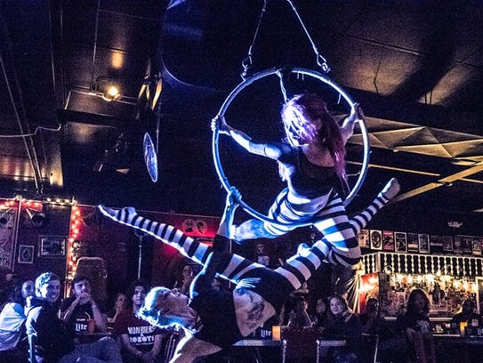 The aerial acrobatic troupe Aerial Fixation will return New Year's Eve to Roxy & Dukes Roadhouse in Dunellen to perform with Will Wood and the Tapeworms and Miss Pissi Myles.