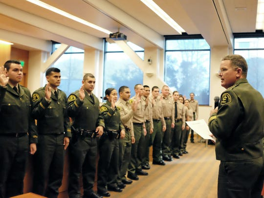 Monterey County Sheriff Steve Bernal swore in 26 new deputies and deputy recruits at a ceremony in Salinas.