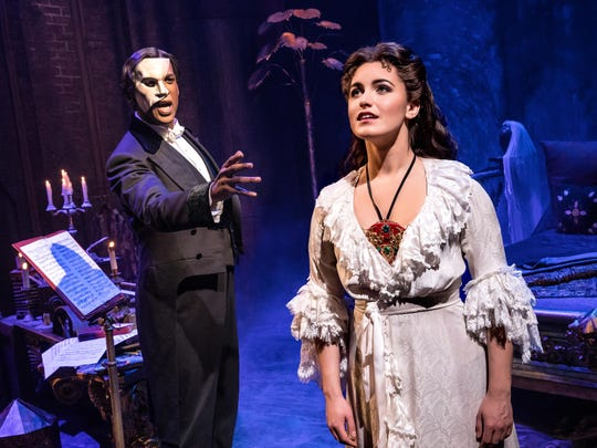 "Quentin Oliver Lee as The Phantom and Eva Tavares as Christine in the touring production of the Broadway musical ""Phantom of the Opera,"" opening Wednesday at Hammons Hall."