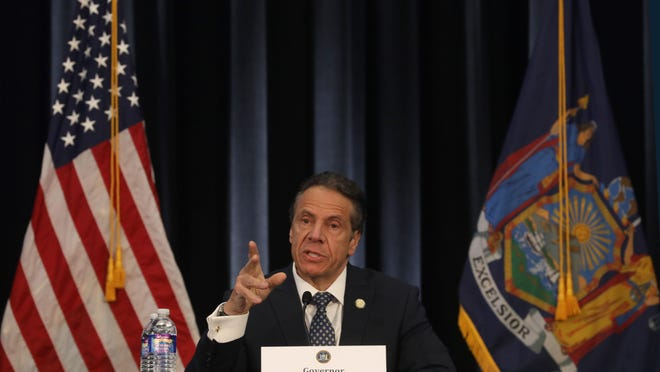 Governor Andrew Cuomo gives daily briefing on COVID-19 response at the Wegmans Conference Center in Chili Monday, May 4, 2020.