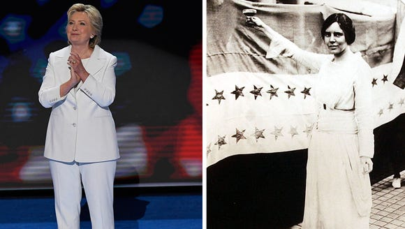 Hillary Clinton showing a striking resemblance to suffragettes