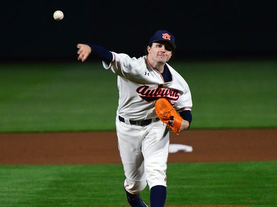 In this photo provided by Auburn Athletics, Auburn NCAA college baseball pitcher Casey Mize pitches against Northeastern, enroute to a no-hitter, Friday, March 9, 2018, in Auburn, Ala. There have been 10 no-hitters in Division I baseball, and the season is barely a month old. (Anthony Hall/Auburn Athletics via AP)