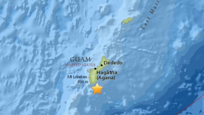 A 4.5 magnitude earthquake struck Guam at 2:38 a.m. Nov. 3, 2017