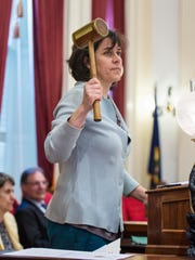 Speaker of the House Mitzi Johnson, D-South Hero, gavels the House of Representatives into order at the start of a special session of the Legislature at the Statehouse in Montpelier on Wednesday, May 23, 2018.