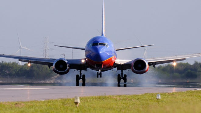 A Southwest Airlines flight lands at Valley International Airport in Harlingen, Texas, on Aug. 7, 2015.