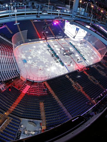 The rink at Nationwide Arena is prepared for the NHL
