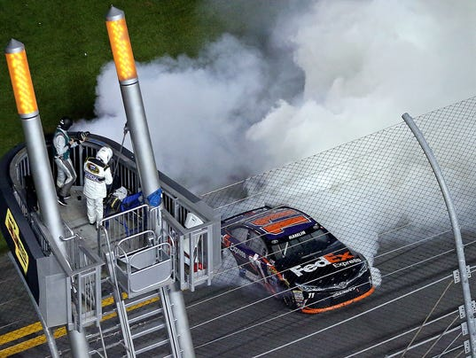 2-13-2016 denny hamlin smoke celebration