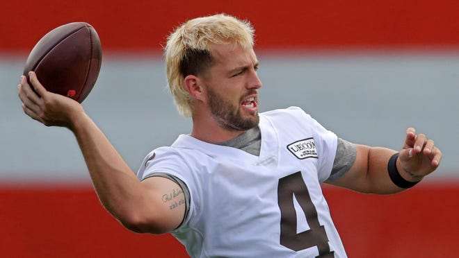 Browns place kicker Austin Seibert rocks a bleached blond mullet during practice at the NFL team's training facility Wednesday, Sept. 02, 2020, in Berea, Ohio.