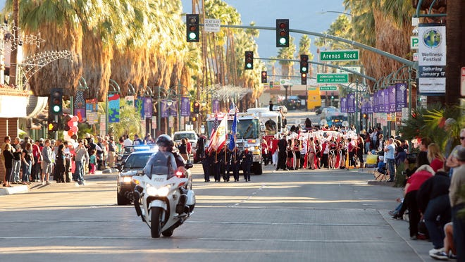 A parade to celebrate Palm Springs High School CIF champion football and volleyball teams gets underway on Thursday, December 18, 2014 along Palm Canyon Dr. in Palm Springs. This is the first time in the school's history that two sports teams have won a CIF championship in the same academic year.