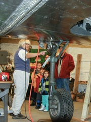 Visitors can see the restoration of a Curtiss P-40 fighter in progress at the Glenn H. Curtiss Museum in Hammondsport.