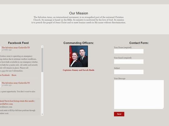 Screenshot of Salvation Army's website when it listed