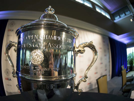 The Women's U.S. Open championship trophy was  on display during media day activities at the Lancaster Country Club.