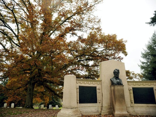 The Lincoln Speech Memorial, photographed on Oct. 31, 2013, is just inside the entrance to Soldiers' National Cemetery.