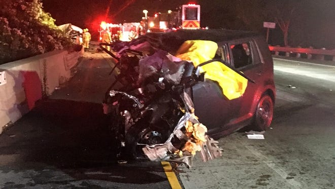This was the scene early Thursday after a car crash left three people dead on southbound Highway 101 in Ventura.