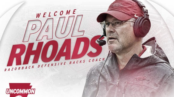 Former Auburn defensive coordinator Paul Rhoads is the new defensive backs coach at Arkansas.