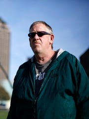 Roger Wood, a resident at Central Iowa Shelter & Services in the John and Mary Pappajohn Sculpture Park in downtown Des Moines.