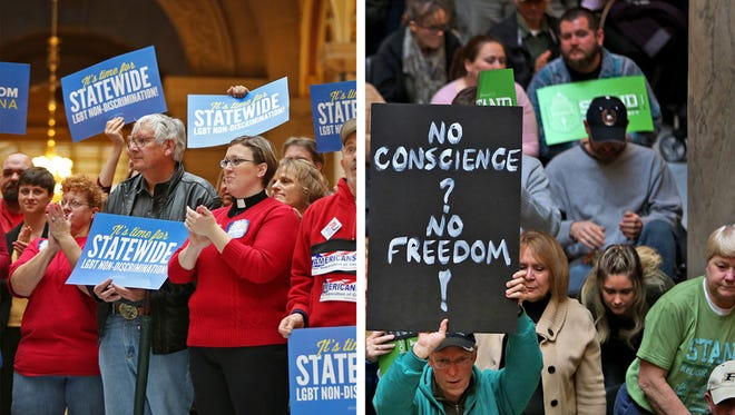 At left, supporters of adding LGBT protections rallied with Freedom Indiana. On the right, religious freedom advocates, who oppose adding LGBT protections, rallied with the Indiana Pastors Alliance. The dueling rallies took place at the Indiana Statehouse on Organization Day, Nov. 17, 2015.