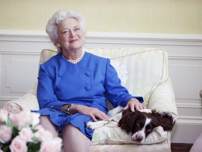 Former First Lady Barbara is shown in a portrait. She
