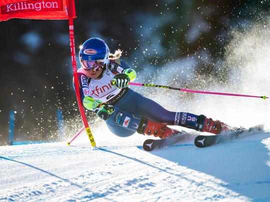Mikaela Shiffrin of the United States during the first run of the women's giant slalom race in the 2017 Audi FIS alpine skiing World Cup at Killington Resort. Mandatory Credit: Erich Schlegel-USA TODAY Sports