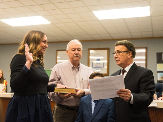 Meghan Spinelli is sworn into the Vineland Public School Board as part of the 2018 reorganization at the Vineland Public School Board Headquarters on Wednesday, January 3.