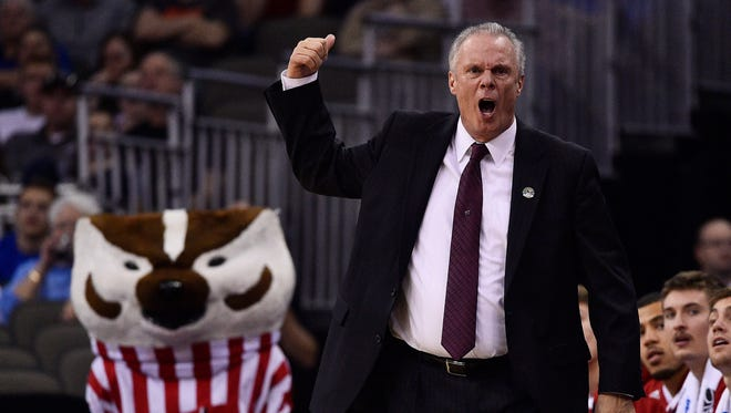 University of Wisconsin men's basketball coach Bo Ryan voices his displeasure during an NCAA Tournament game against Oregon on March 22 at CenturyLink Center in Omaha, Neb. The 67-year-old Ryan is the winningest coach in Badgers history and one of nine active Division I coaches with at least 700 career victories.