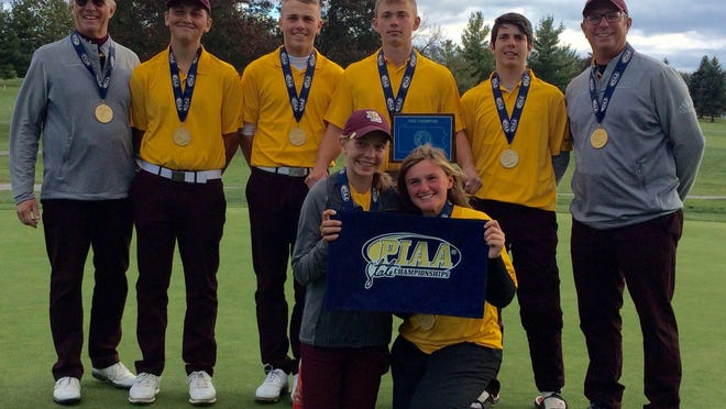 The North East boys golf team poses with the PIAA Class 2A team trophy after winning the title in York on Oct. 24, 2018. Pictured in front, from left, are Lydia Swan and alternate Taylor Urban. Standing, from left, are coach Jon Sedelmyer, Ryan Hathaway, Carter Hassenplug, Alec Hite, Isaiah Swan and coach Troy Hassenplug.