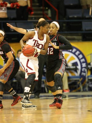 UL's Simone Fields plays defense during the Cajuns' 66-52 victory over No. 3 Troy on Wednesday at Lakefront Arena in New Orleans.