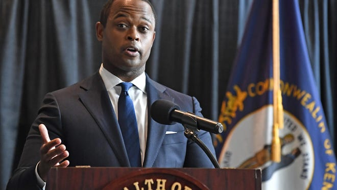 Kentucky Attorney General Daniel Cameron addresses the media following the return of a grand jury investigation into the death of Breonna Taylor, in Frankfort, Ky., Wednesday, Sept. 23, 2020. Of the three Louisville Metro police officers being investigated, one was indicted.