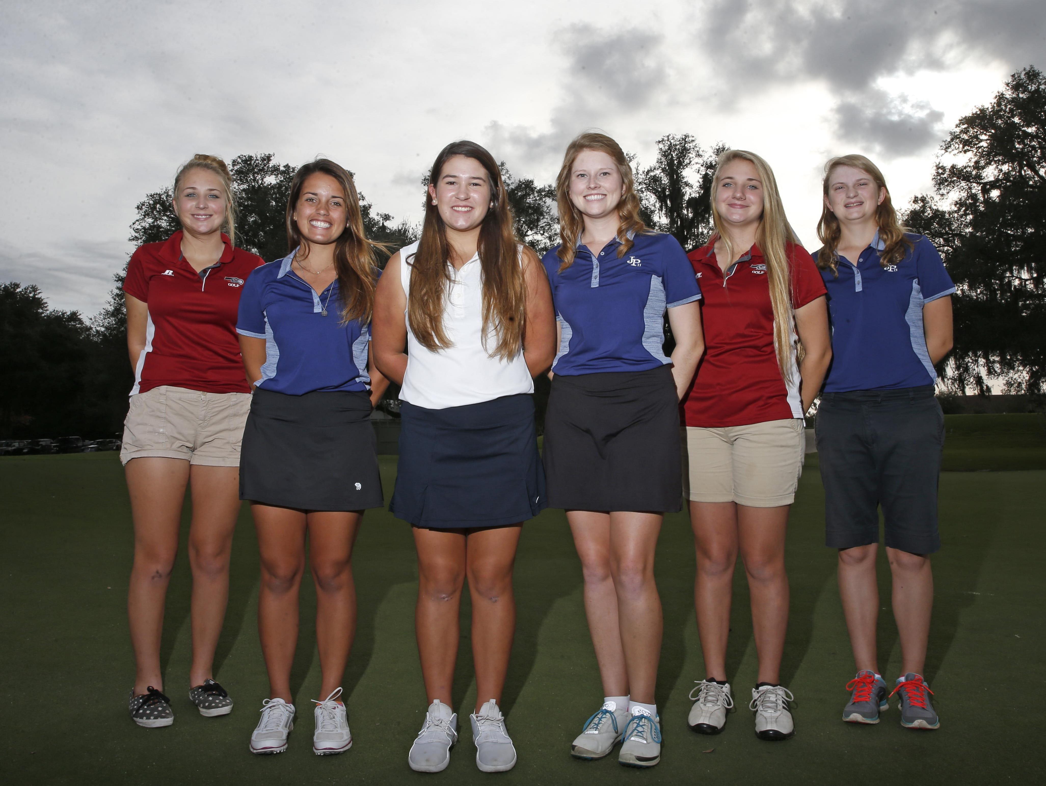 The 2015 All-Big Bend girls golf first team. From left: Megan Collins (Franklin County), Grace Murray (John Paul II), Megan Schofill (Aucilla Christian), Player of the Year Teresa Conroy (John Paul II), Melanie Collins (Franklin County), Morgan Comer (John Paul II)