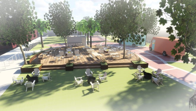This drawing by Russell Studio shows how a patio at Library Park in Redding would look if a food truck court is created.