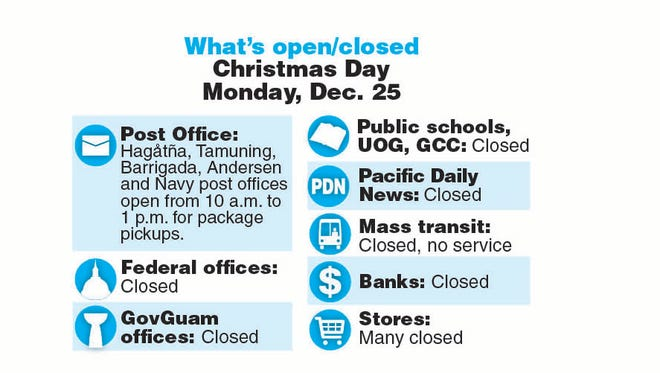 What's open what's closed Christmas Day, Monday, Dec. 25, 2017.