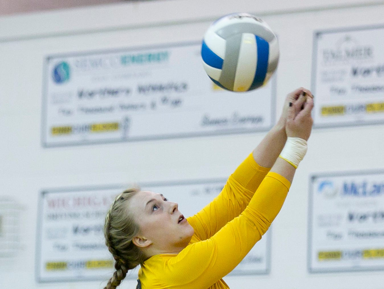 Port Huron Northern senior Jillian Rusch hits the ball during a volleyball game Tuesday, October 27, 2015 at Port Huron Northern High School.