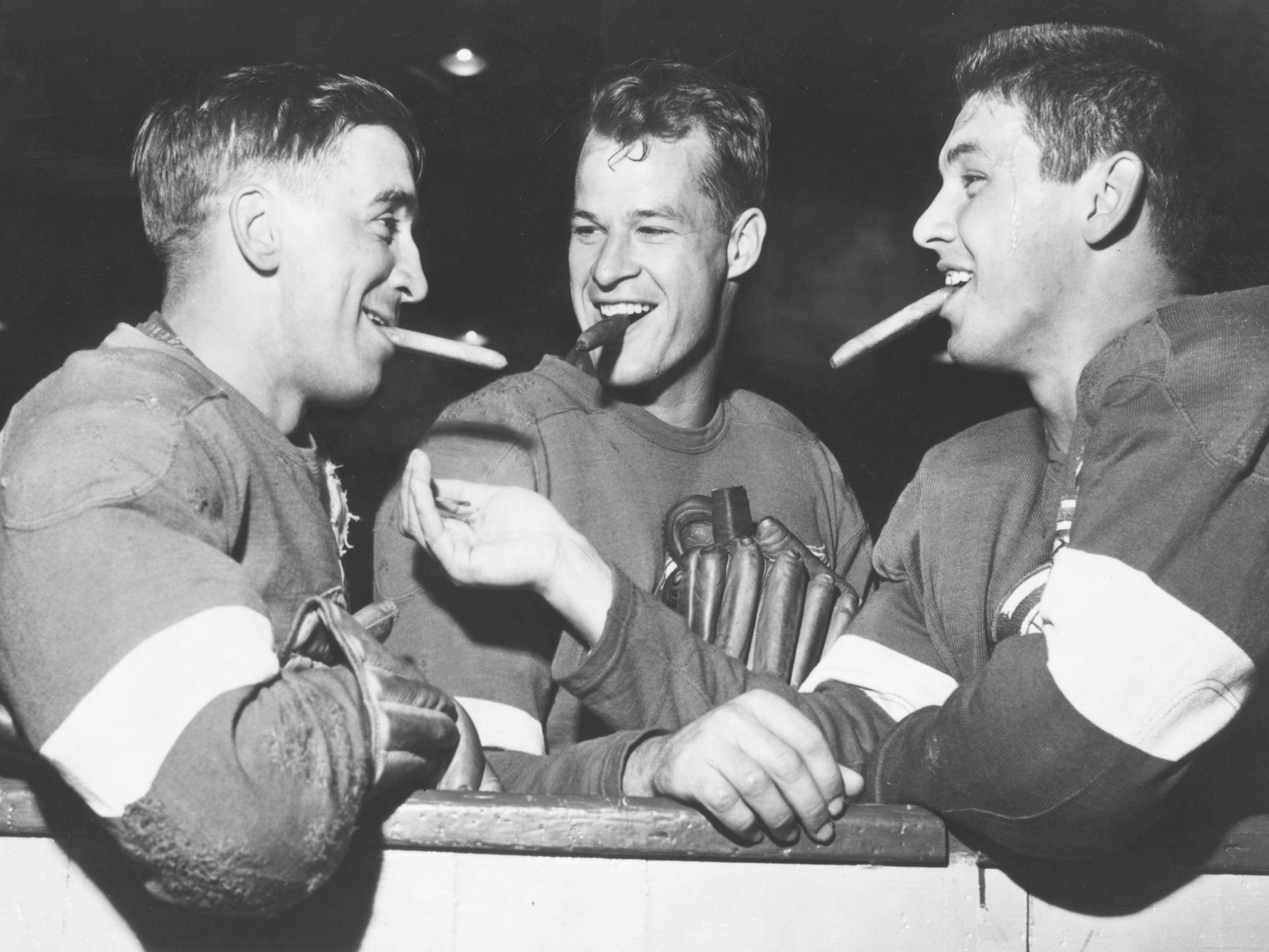 From left to right: Ted Lindsay, Gordie Howe and Alex Delvecchio. The Wings won four Stanley Cups from 1948-55.