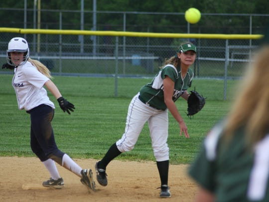 Raritan shortstop Daniella Marino fires to first on an attempted double play after forcing out Kelly Cuthbert at second during Toms River North's 5-2 win during the Shore Conference Tournament quarterfinals on Wednesday.