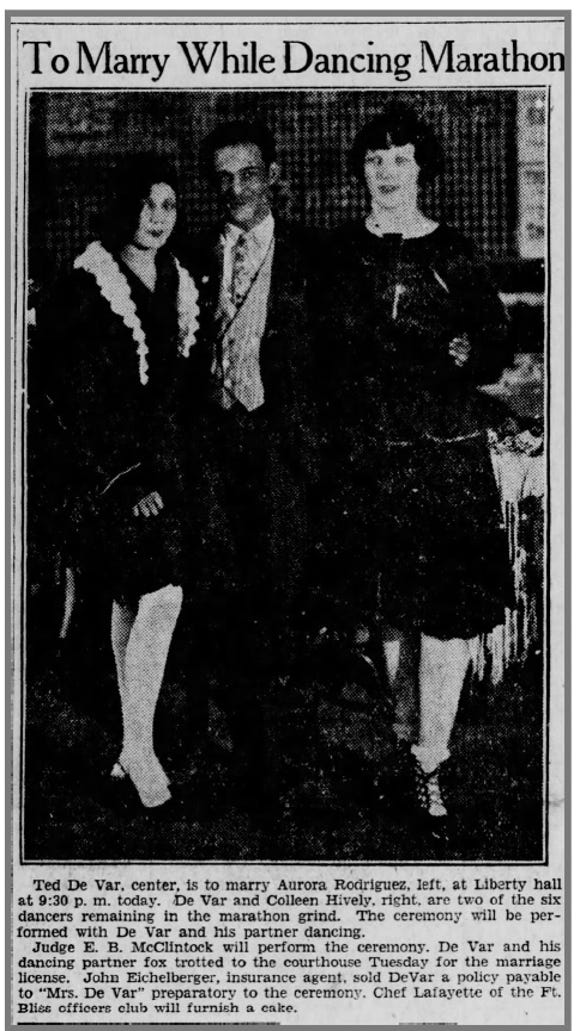 Ted De Var, center, is to marry Aurora Rodriguez, left, at Liberty hall at 9:30 p.m. today. De Var and Colleen Hively, right, are two of the six dancers remaining in the marathon grind. The ceremony will be performed with De Var and his partner dancing.