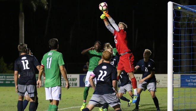during FGCU's game against North Florida on Tuesday night at the FGCU Soccer Complex.