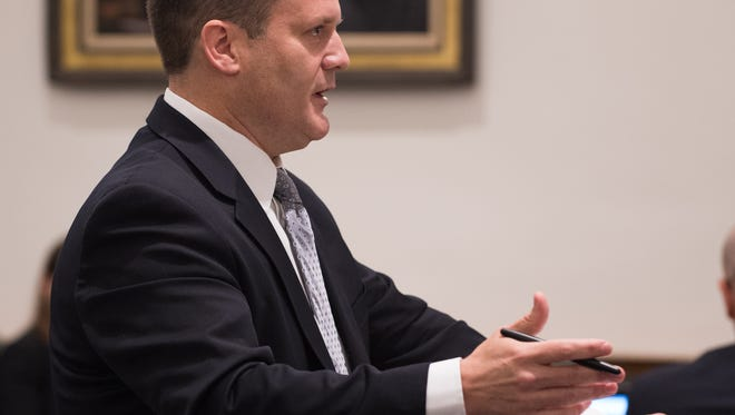 Sean Lugg addresses the Delaware Supreme Court. Lugg was named the Delaware Department of Justice's new state prosecutor and will replace Kathy Jennings, who is leaving to become the chief administrative officer for New Castle County.