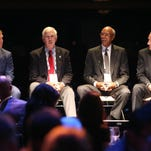 """Kris Draper, Greg Landry, Dave Bing and Al Kaline took part in a discussion about Detroit sports history Wednesday. """"We will become ... one of the greatest cities in the United States,"""" Kaline told the group."""