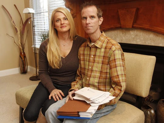 A January 2013 photo of Amy Blansit with her husband,