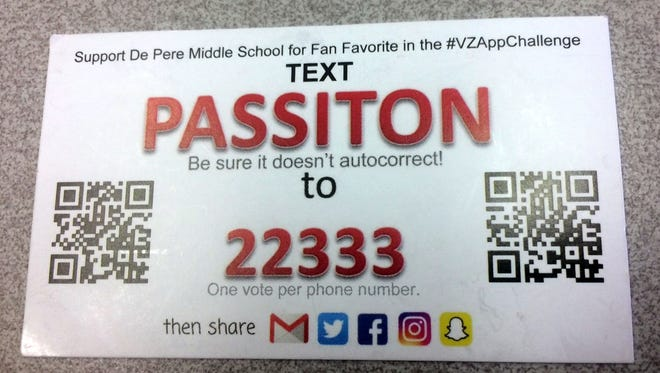 De Pere Middle School's Pass It On app concept was declared the national winner of the Fan Favorite award in the Verizon Innovative Learning app challenge Thursday, Feb. 16, 2017.