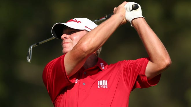 Steve Stricker tees off the 15th hole during the third round of the 2014 U.S. Open golf tournament at Pinehurst.