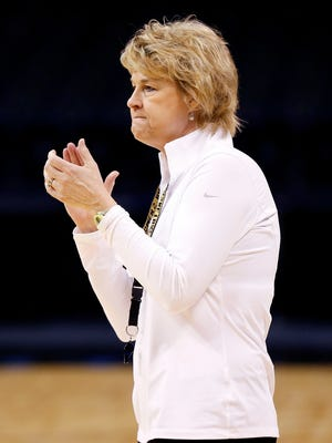 Iowa coach Lisa Bluder watches her team practice for the NCAA women's basketball tournament regional in Oklahoma City on Thursday.