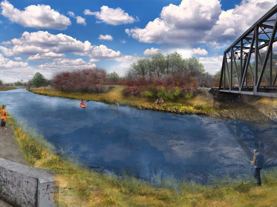 White River at McCulloch Park would look more like a river as shown in this drawing than a pond or lake after removal of a dam.