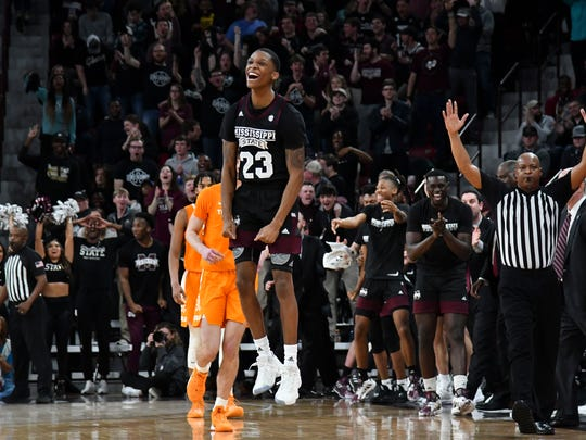 Feb 1, 2020; Starkville, Mississippi, USA; Mississippi State Bulldogs guard Tyson Carter (23) reacts during the second half of the game against the Tennessee Volunteers at Humphrey Coliseum. Mandatory Credit: Matt Bush-USA TODAY Sports