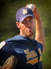 Robert Rohrbaugh pitches for the Hanover Post 14 American Legion team in 2002.